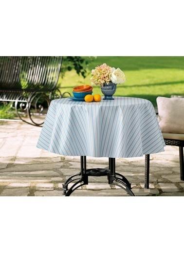 Madame Coco Stripe Masa Örtüsü - Mavi / Mercan Renkli